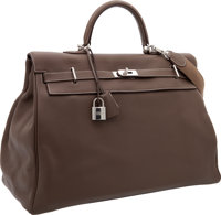 Hermes 50cm Etoupe Clemence Leather Travel Kelly Bag with Palladium Hardware