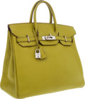 Luxury Accessories:Bags, Hermes 32cm Vert Anis Chevre Leather HAC Birkin Bag with PalladiumHardware. ...