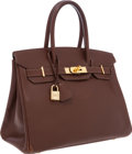 Luxury Accessories:Bags, Hermes 30cm Chocolate Epsom Leather Birkin Bag with Gold Hardware....