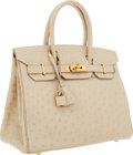 Luxury Accessories:Bags, Hermes 30cm Parchment Ostrich Birkin Bag with Gold Hardware. ...