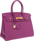 Luxury Accessories:Bags, Hermes 30cm Cyclamen Chevre Leather Birkin Bag with Gold Hardware....