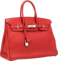 Luxury Accessories:Bags, Hermes 35cm Rouge H Fjord Leather Birkin Bag with PalladiumHardware. ...
