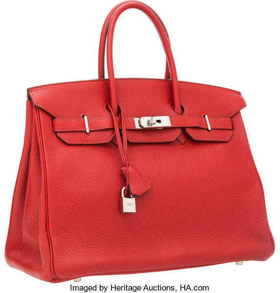 245be78a33c Hermes 35cm Rouge H Fjord Leather Birkin Bag with