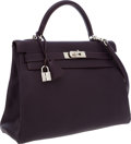Luxury Accessories:Bags, Hermes 32cm Raisin Clemence Leather Retourne Kelly Bag withPalladium Hardware. ...