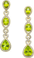 Estate Jewelry:Earrings, Peridot, Diamond, Gold Earrings, Eli Frei. ...