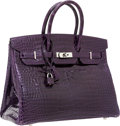 Luxury Accessories:Bags, Hermes 35cm Shiny Amethyst Porosus Crocodile Birkin Bag withPalladium Hardware. ...