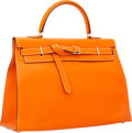 Luxury Accessories:Bags, Hermes 35cm Orange H Swift Leather Kelly Flat Bag with PalladiumHardware. ...