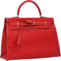 Luxury Accessories:Bags, Hermes 35cm Vermillion Swift Leather Kelly Flat Bag with Palladium Hardware. ...