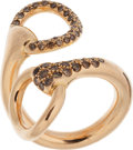 Luxury Accessories:Accessories, Hermes 18k Rose Gold & Brown Diamonds Nausicaa CroiseeRing. ...