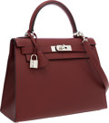 Luxury Accessories:Bags, Hermes 28cm Rouge H Vache Liegee Sellier Kelly Bag with Palladium Hardware. ...