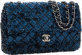 Luxury Accessories:Bags, Chanel Indigo Blue Satin & Sequin Medium Single Flap Bag withGunmetal Hardware. ...