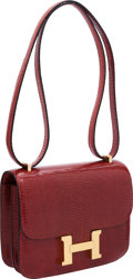 Luxury Accessories:Bags, Hermes 18cm Rouge H Lizard Double Gusset Constance Bag with GoldHardware. ...