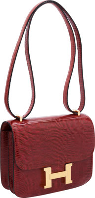 Hermes 18cm Rouge H Lizard Double Gusset Constance Bag with Gold Hardware