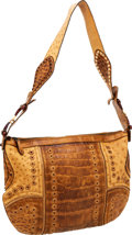Luxury Accessories:Bags, Gucci Brown Crocodile & Ostrich Shoulder Bag with Grommets. ...