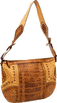 7f9b873eaa0 Gucci Brown Crocodile  amp  Ostrich Shoulder Bag with Grommets
