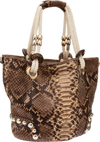 Gucci Natural Python Tote Bag with Rope Handles
