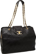 Luxury Accessories:Travel/Trunks, Chanel Black Lambskin Leather Supermodel Weekend Tote Bag with GoldHardware. ...