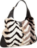 Luxury Accessories:Bags, Gucci Matte Black Alligator & Multicolor Chevron Mink JackieBag. ...