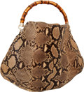 Luxury Accessories:Bags, Gucci Natural Python Peggy Hobo Bag with Bamboo Handle. ...