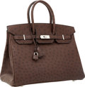 Luxury Accessories:Bags, Hermes 35cm Marron Fonce Ostrich Birkin Bag with PalladiumHardware. ...