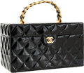 Luxury Accessories:Accessories, Chanel Black Patent Leather Traincase with Jumbo Gold Chain Handle....