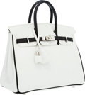 Luxury Accessories:Bags, Hermes Special Order Horseshoe 25cm White & Black Swift Leather Birkin Bag with Palladium Hardware. ...