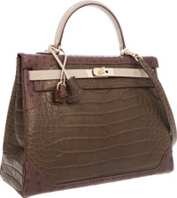"Hermes Limited Edition ""Grand Marriage"" 35cm Matte Gris Elephant Alligator, Marron Fonce Ost"