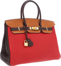 Luxury Accessories:Bags, Hermes Special Order Horseshoe 35cm Rouge Garance, Chocolate & Gold Clemence Leather Birkin Bag with Gold Hardware. ...