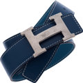 Luxury Accessories:Accessories, Hermes Blue Thalassa Calf Box & Blue Jean Togo Leather Beltwith Brushed Palladium H Buckle. ...