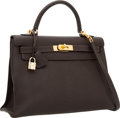 Luxury Accessories:Bags, Hermes 32cm Chocolate Chevre Leather Sellier Mou Kelly Bag with Gold Hardware. ...