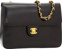 Chanel Black Lizard Flap Bag with Gold Hardware