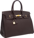 Luxury Accessories:Bags, Hermes 35cm Cocoan Chevre Leather Birkin Bag with Gold Hardware....