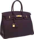 Luxury Accessories:Bags, Hermes 35cm Raisin Togo Leather Birkin Bag with Gold Hardware. ...