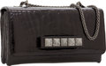 Luxury Accessories:Bags, Valentino Shiny Black Crocodile Noir VaVaVoom Rockstud Clutch Bagwith Shoulder Strap, Retail $16,000. ...