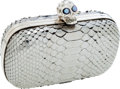 Luxury Accessories:Bags, Alexander McQueen Metallic Pewter Python Minaudiere Bag. ...