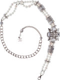 Luxury Accessories:Accessories, Chanel Brushed Silver, Faux Pearl & Crystal Belt with CC BroochDetail. ...