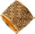 Luxury Accessories:Accessories, Chanel Intricate Gold Logo Thick Cuff Bracelet. ...