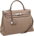Luxury Accessories:Bags, Hermes 35cm Gris Tourterelle Clemence Leather Retourne Kelly Bag with Palladium Hardware. ...
