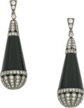 Estate Jewelry:Earrings, Black Onyx, Diamond, Gold Earrings. ...