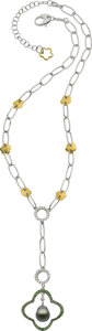 Estate Jewelry:Necklaces, South Sea Cultured Pearl, Diamond, Sapphire, Gold Necklace,Salavetti . ...