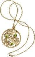 Estate Jewelry:Necklaces, Peridot, Diamond, Gold Necklace, Carol Silvera. ...