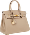 Luxury Accessories:Bags, Hermes 30cm Argile Clemence Leather Birkin Bag with Gold Hardware....