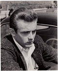 Movie/TV Memorabilia:Autographs and Signed Items, A James Dean Signed Black and White Photograph, Circa 1955....