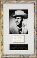 Music Memorabilia:Autographs and Signed Items, Hank Williams Autograph....