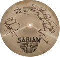 Music Memorabilia:Autographs and Signed Items, Stevie Ray Vaughan and Double Trouble Performance-Used andBand-Signed Cymbal....