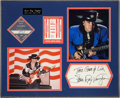 Music Memorabilia:Autographs and Signed Items, Stevie Ray Vaughan Signature, Photos, and Backstage Passes inFramed Display....