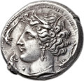 Ancients:Greek, Ancients: SICULO-PUNIC. Entella. Ca. 310 BC. AR tetradrachm (28mm, 17.21 gm, 7h). ...