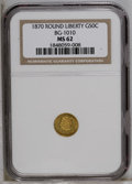 California Fractional Gold: , 1870 50C Liberty Round 50 Cents, BG-1010, R.3, MS62 NGC. PCGSPopulation (30/84). (#10839)...