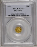 California Fractional Gold: , 1876 50C Indian Round 50 Cents, BG-1038, R.4, MS62 PCGS. PCGSPopulation (22/16). (#10867)...