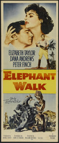 "Movie Posters:Adventure, Elephant Walk (Paramount, 1954). Insert (14"" X 36""). Adventure.Directed by William Dieterle. Starring Elizabeth Taylor, Dan..."